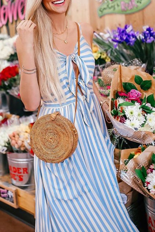 Round Floral Woven Bag
