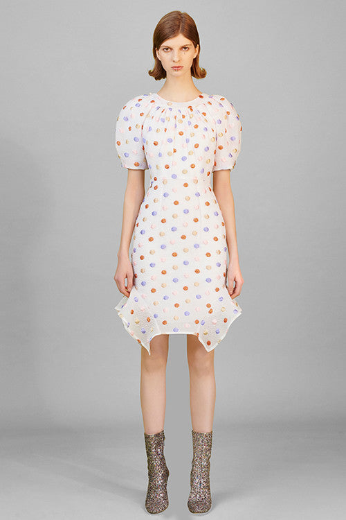 Dotted Puff Sleeve Back-detailed Fishtail Dress
