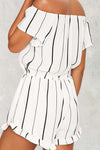 Off Shoulder Stripe Ruffle Jumpsuit