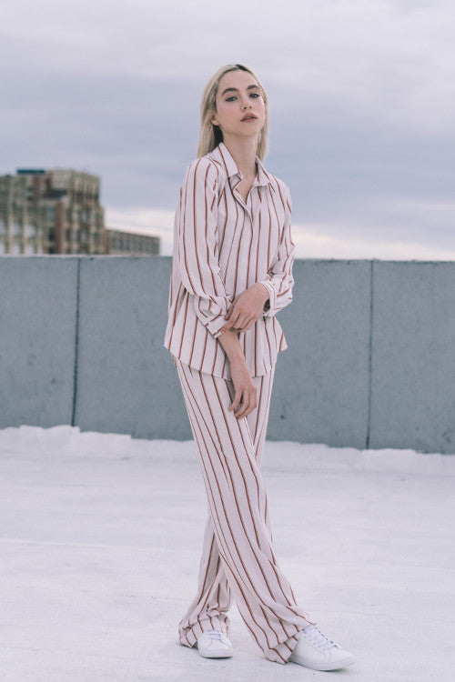Brick-Red Striped Loose Pants