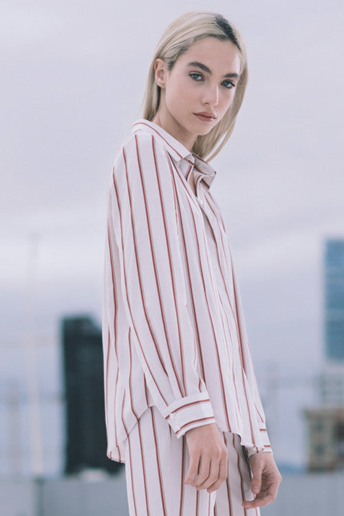 Brick-Red Oversize Striped Shirt