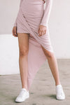 Grey Pink Irregular  Skirt