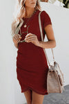 Pure Color Pleated Shift Mini Dress