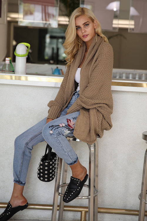 Pure Color Tight Cuff Cardigan