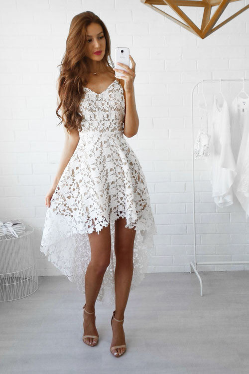 Spaghetti Lace Ruffle High/Low Dress