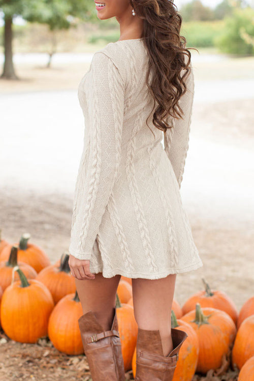 Crew Neck Long Sleeve Jersey Dress