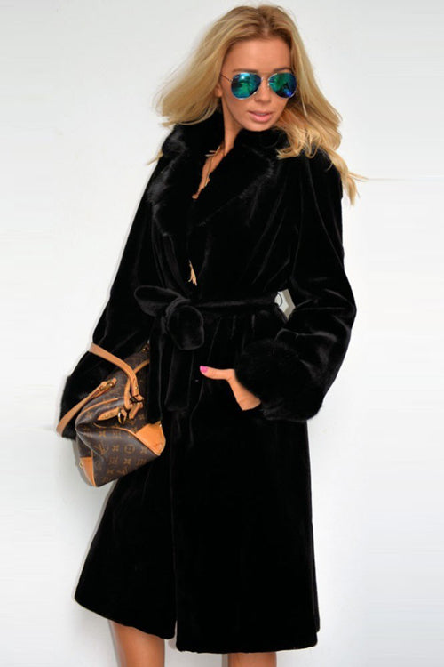 Black Artificial Fur Long Coat