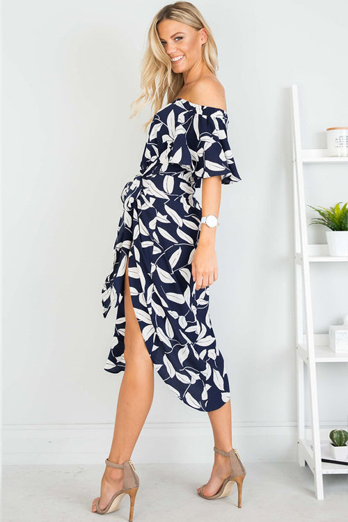 High-slit Leaves Print Midi Dress