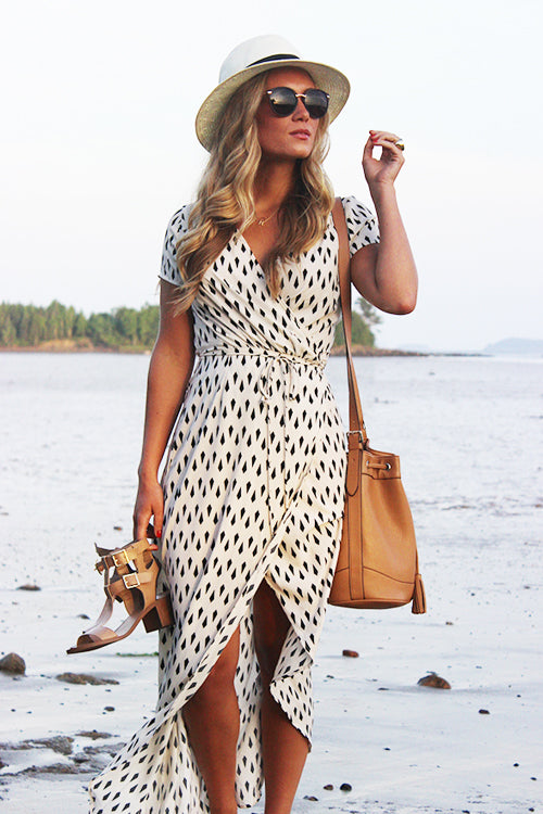 High-slit Wrap Print Maxi Dress