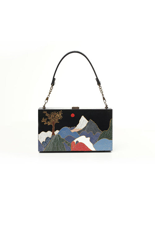 """Japanese Mountain"" Wooden Shoulder Bag"