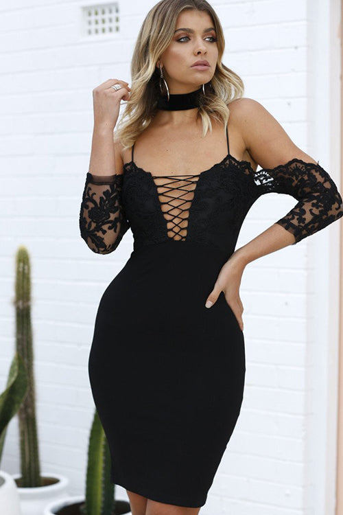 All Eyes on You Embroidery Body-Con Dress