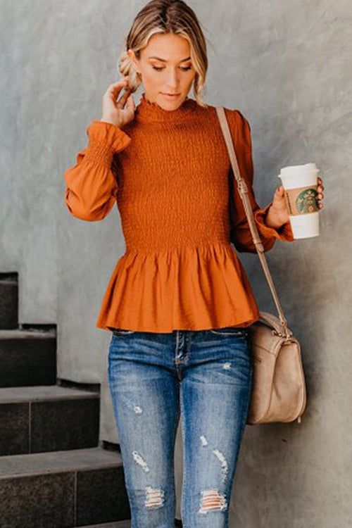 Share the Love Pleated High Neck Top