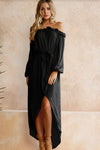 Off Shoulder High Side Slit High/Low Dress