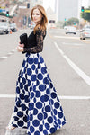 Polka Dot Full Maxi Skirt