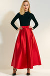 Elegant Red High Waist A Shape Skirt