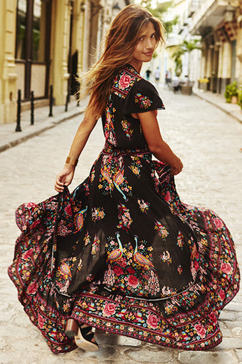 Print V-neck Waist-tied High/Low Dress