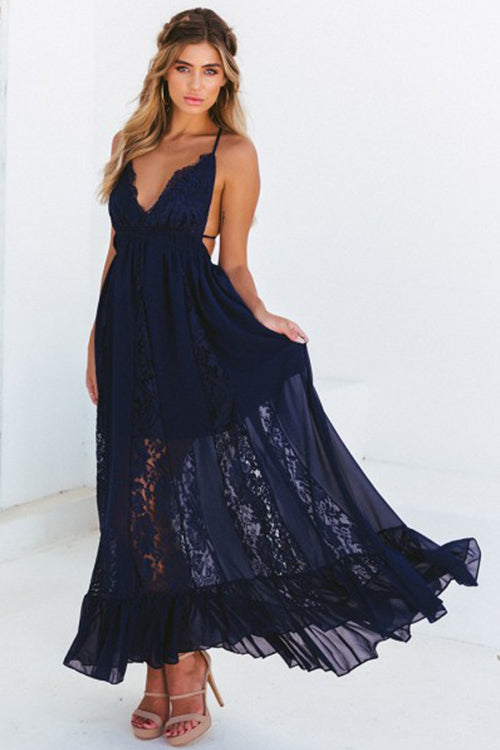 Love in Santorini Lace maxi Dress