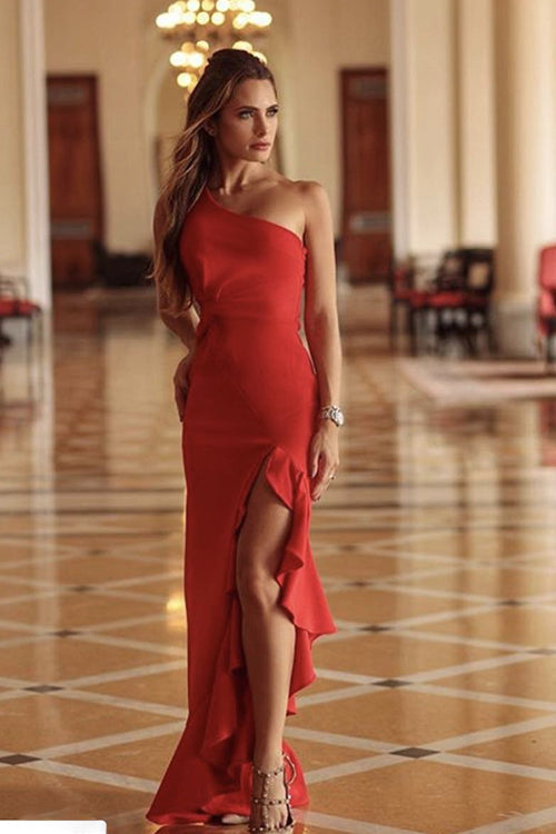 One Shoulder High Side Slit Mermaid Dress