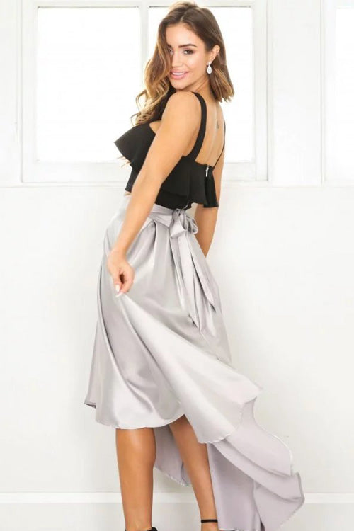 High Waisted Swallow-Tail Tied Full Skirt