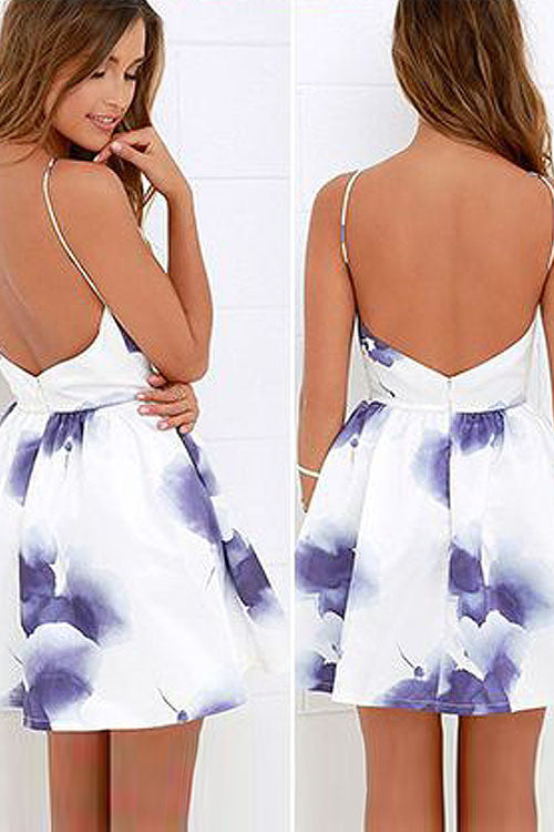 White Spaghetti Backless Halter Neck Print Mini Dress