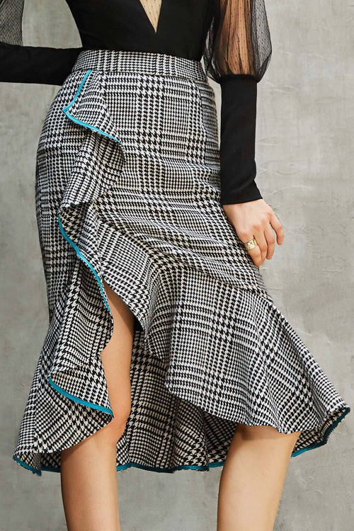 Black Checks Falbala Skirt