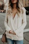 V-Neck Cross Front Sweater