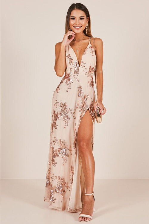 Sequin High-slit Maxi Dress