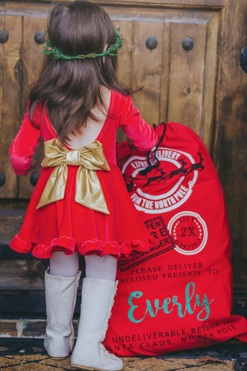 Christmas Tie-back Baby Dress