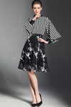 Black Stripe Embroidery Bell Sleeve Dress