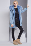 Denim Feather Cap Long Flannelette Jacket
