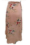 Brown Floral Print Wrap Skirt
