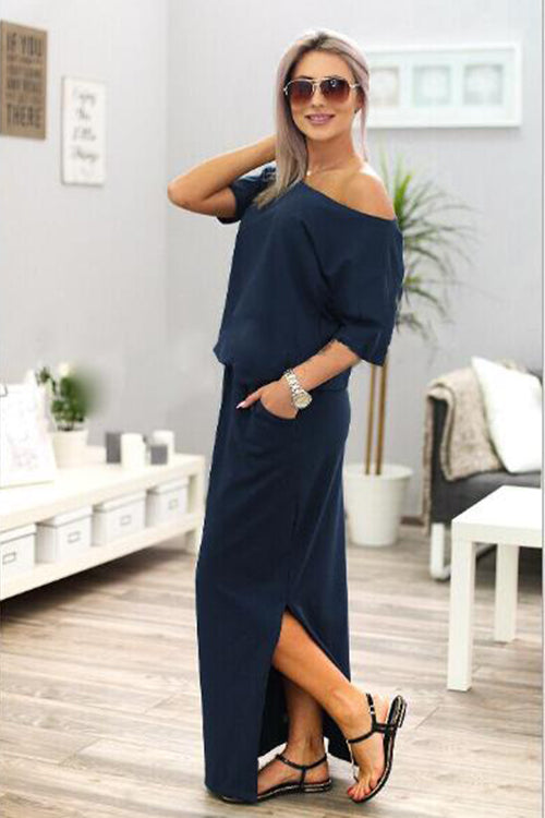 Off Shoulder Half Sleeve High side Slit Maxi Dress