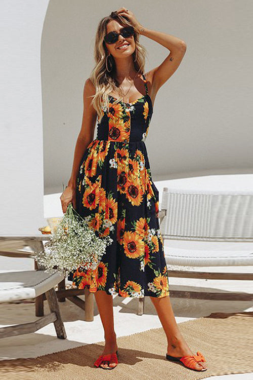 Sunflower Button-up Midi Dress