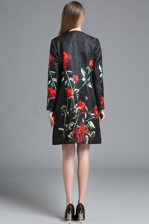 Floral Print Long Sleeve Embroidered Coat