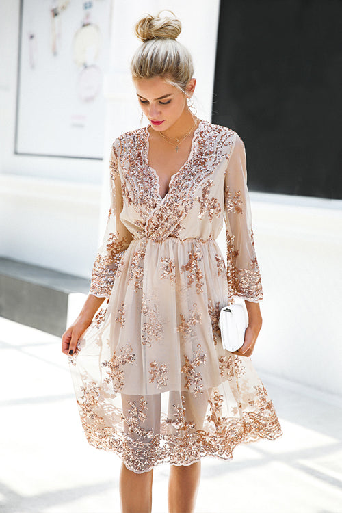 V Neck Half Sleeve Sequin Midi Dress