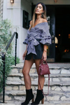 Off Shoulder Check Bell Sleeve Shirt