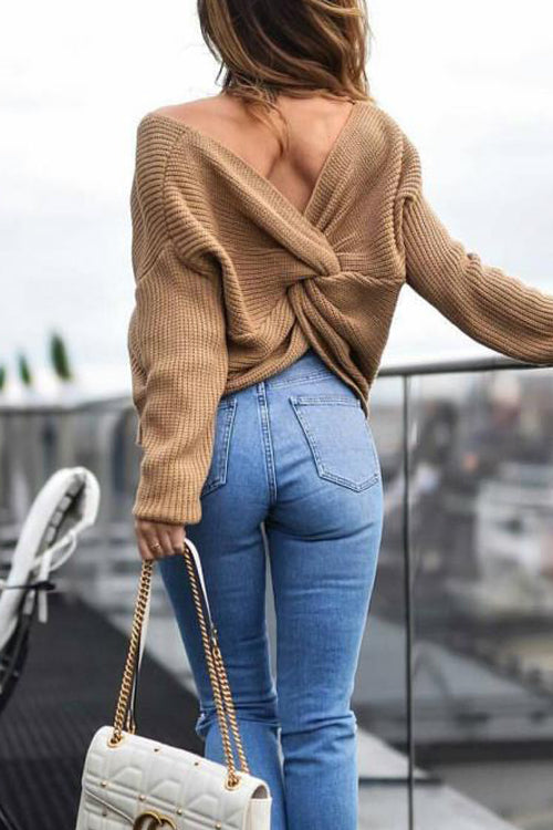 Pure Color Knot Back Sweater