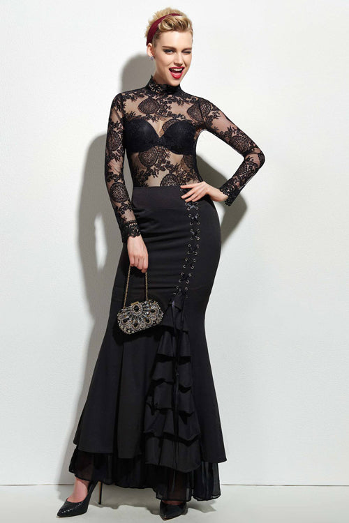 Black Tie Side Mermaid Skirt