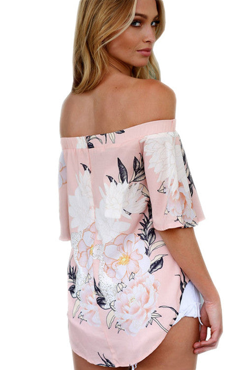 Pink Print Drape Ruffle Off the Shoulder Blouse