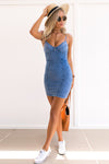 Spaghetti Sheath Denim Backless Bar Mini Dress