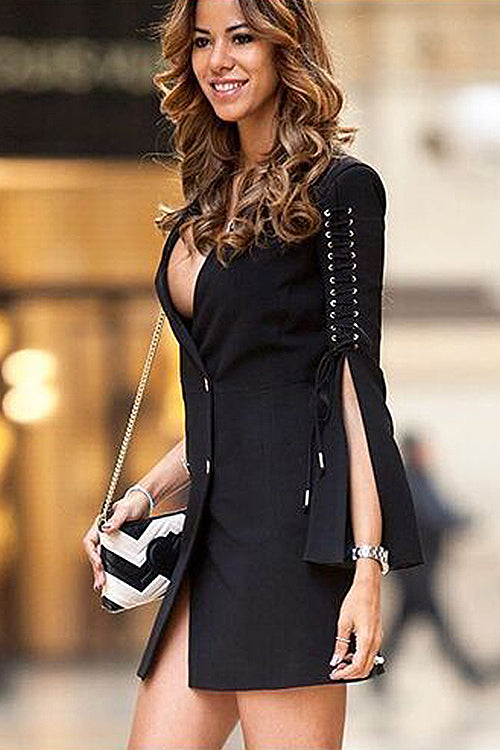 Chic City Tie Sleeve Mini Dress