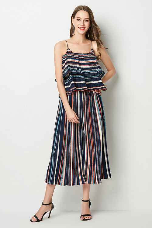 Stripe Spaghetti Straps High Waist Loose Pants Suit