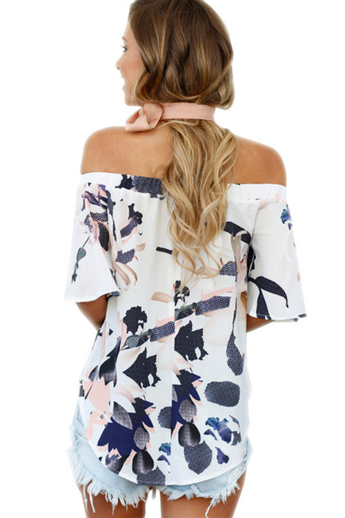 Blue Print Drape Ruffle Off the Shoulder Blouse