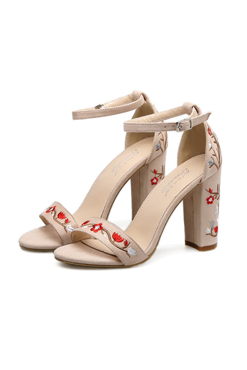 Floral Embroidered Suede Heel