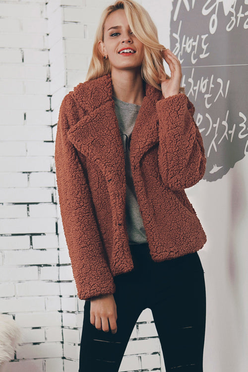 Short Pure Color Artificial Wool Coat