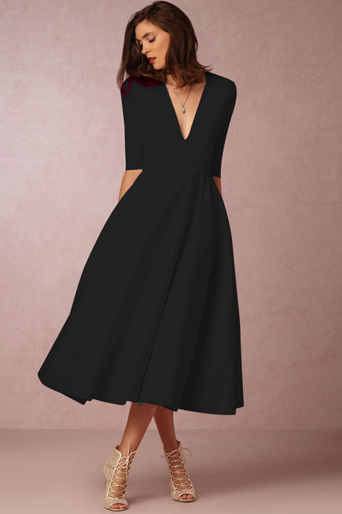 Half Sleeve V-Neck Fit-Flare Dress