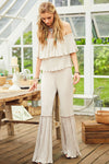 Beige Off The Shoulder Ruffle Jumpsuit