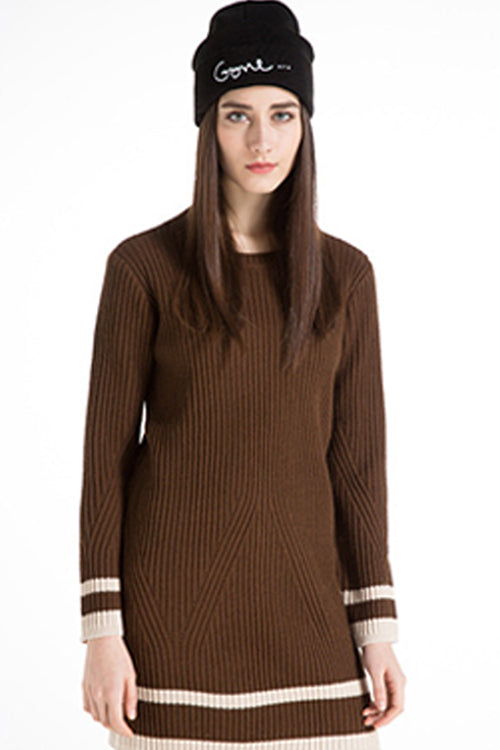 Round Collar Pullover Long Sweater