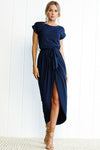 Pure Color Tie Front Maxi Dress