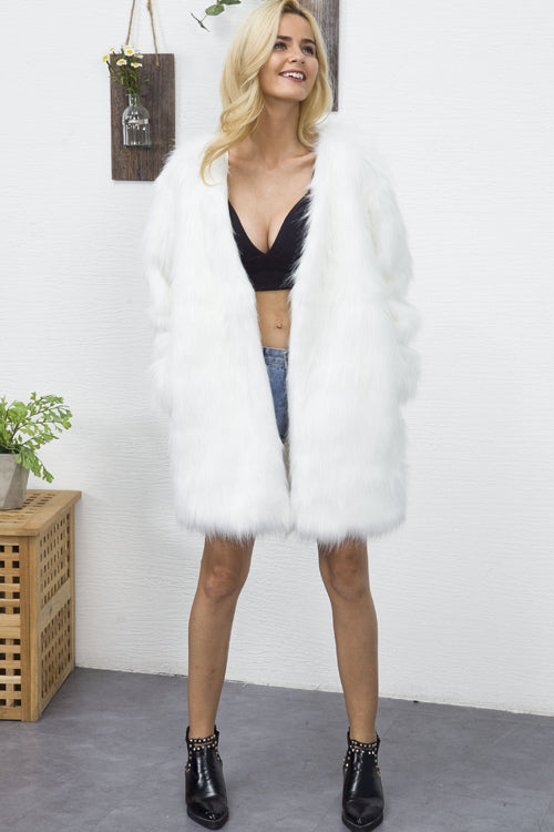 Long Pure Color  Artificial Fur Coat
